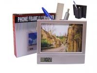 Porta Retrato com Relógio e Porta Canetas